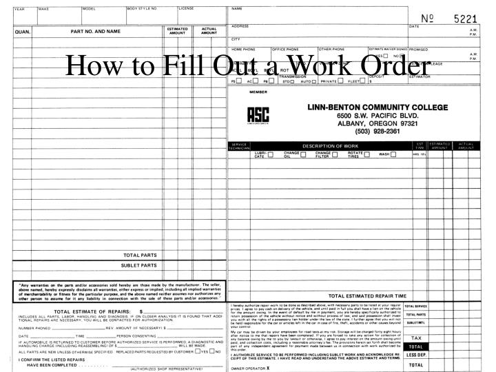 how to fill out a work order n.