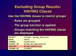 excluding group results having clause
