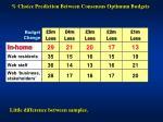 choice prediction between consensus optimum budgets1