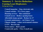 summary 3 service reductions causing least displeasure saving up to 2m