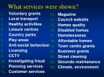 what services were shown