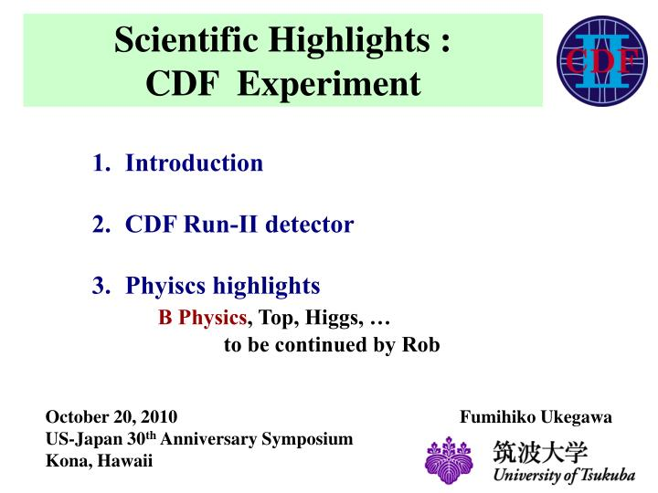 scientific highlights cdf experiment n.