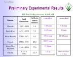 preliminary experimental results