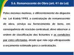 5 6 remanescente de obra art 41 da lei
