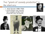two giants of comedy production in the silent era1