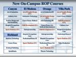 new on campus rop courses