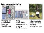 charging cell phone under sunshine via usb plug