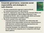 corporate governance corporate social responsibility and strategies in latin america