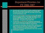 department priorities for fy 2006 2007