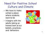 need for positive school culture and climate