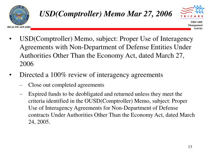 USD(Comptroller) Memo Mar 27, 2006