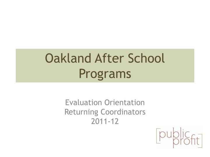 Oakland after school programs