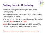 getting jobs in it industry
