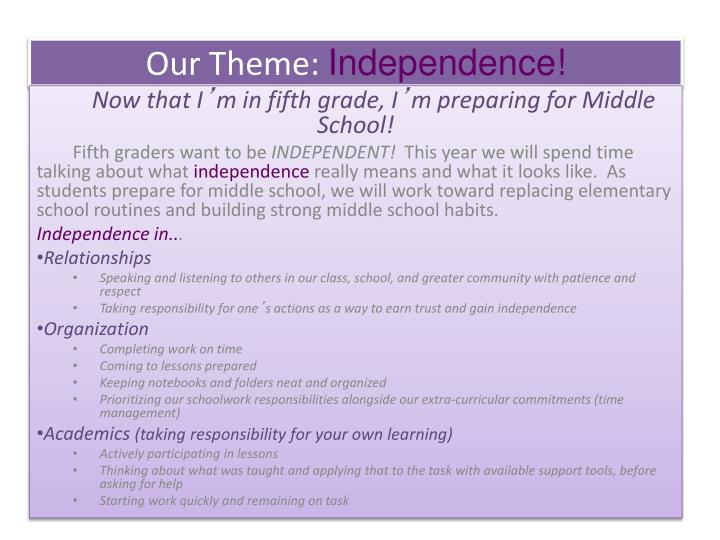 Our theme independence