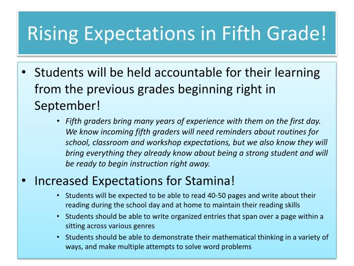 Rising expectations in fifth grade