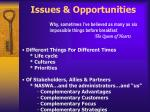 issues opportunities
