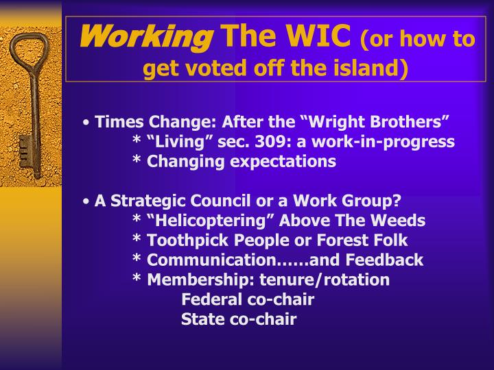 working the wic or how to get voted off the island n.