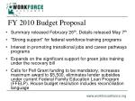 fy 2010 budget proposal