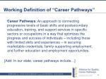 working definition of career pathways