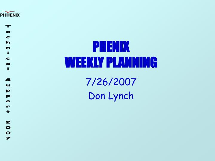 phenix weekly planning n.