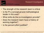 research investigators