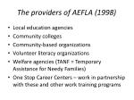 the providers of aefla 1998