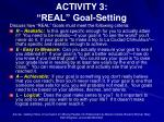 activity 3 real goal setting