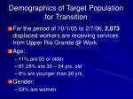 demographics of target population for transition