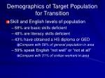 demographics of target population for transition1