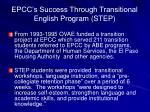epcc s success through transitional english program step