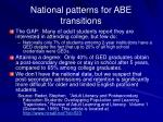 national patterns for abe transitions