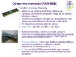 operativna memorija ram rom