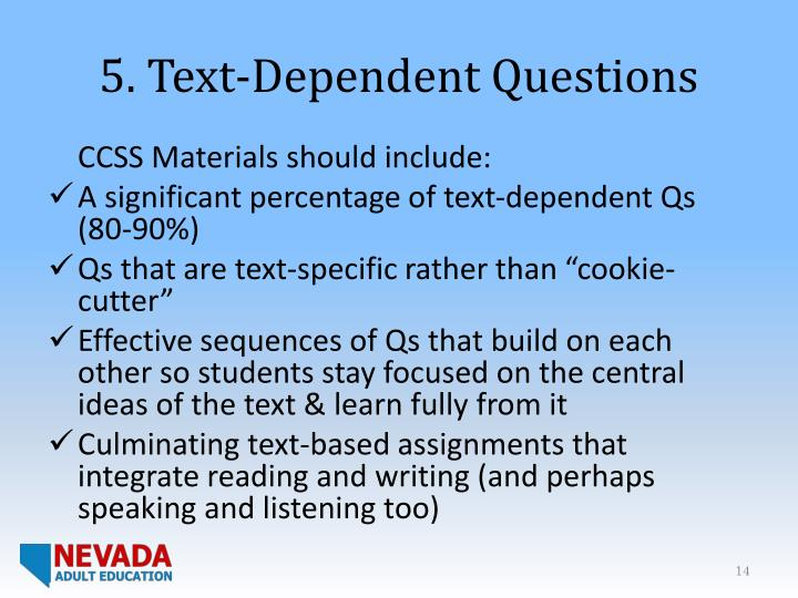 5. Text-Dependent Questions