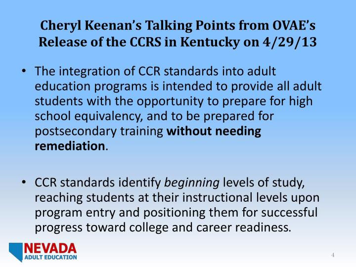 Cheryl Keenan's Talking Points from OVAE's Release of the CCRS in Kentucky on 4/29/13