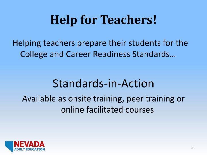 Help for Teachers!