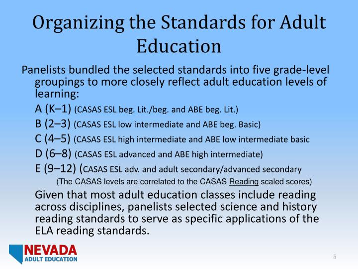 Organizing the Standards for Adult Education