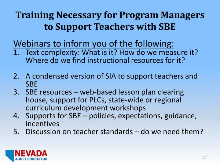 Training Necessary for Program Managers to Support Teachers with SBE