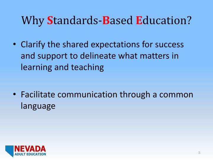 Why s tandards b ased e ducation