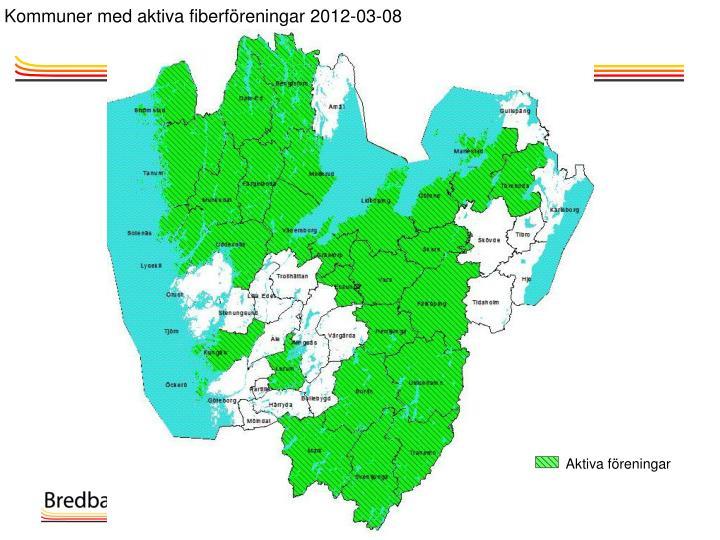 Kommuner med aktiva fiberföreningar 2012-03-08