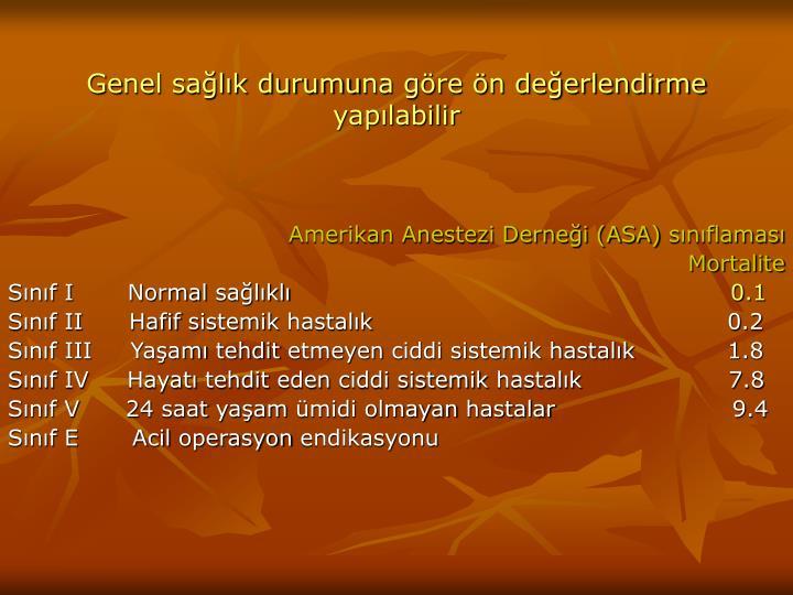 Amerikan Anestezi Derneği (ASA)