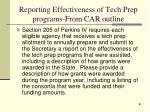 reporting effectiveness of tech prep programs from car outline