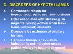 d disorders of hypothalamus
