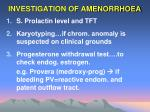 investigation of amenorrhoea