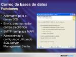 correo de bases de datos funciones