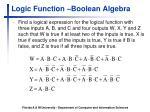 logic function boolean algebra