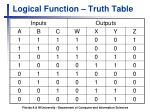 logical function truth table
