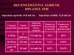 recens m ntul agricol din anul 1930
