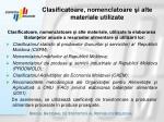 clasificatoare nomenclatoare i alte materiale utilizate