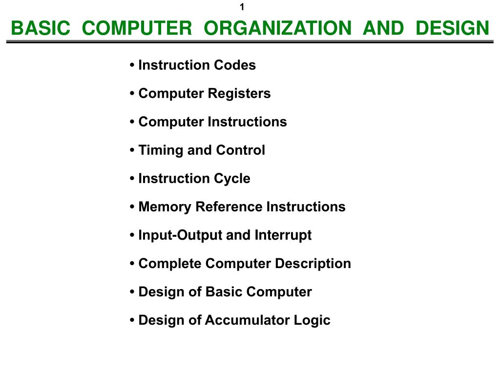 Ppt Basic Computer Organization And Design Powerpoint Presentation Free Download Id 4552341