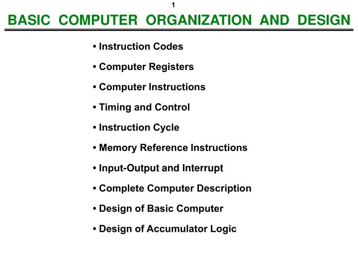 basic computer organization and design n.